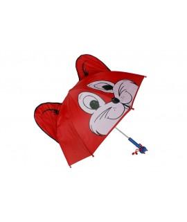 Paraigües infantil color vermell forma de guineu nansa de fusta amb figura per als dies de pluja divertit regal per aniversari