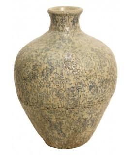 Jarrón de cerámica grande de terracota en tono azul