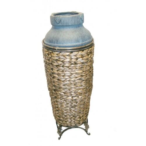 Gerra decorativa ceràmica i Ratan per ambient rústic.
