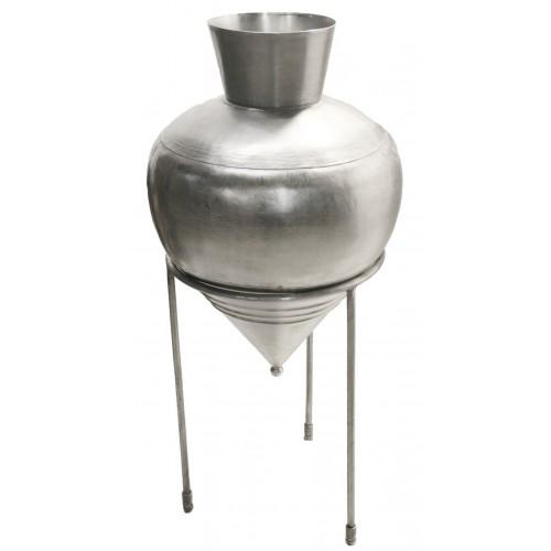 Gran jarrón de metal con soporte incluido decoración vintage.