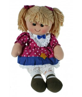 Muñeca clásica de trapo con vestido de color rosa a topos