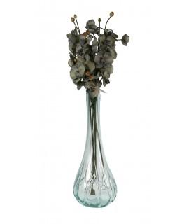 Jarrón de vidrio tallado grande estilo clásico.