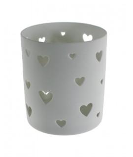 Porta velas cerámica color blanco con corazones. Medidas: 10xØ8,5 cm.
