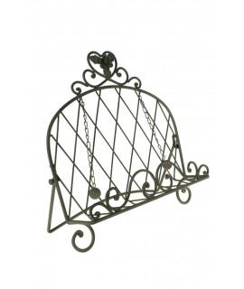 Atril de hierro plegable con decoración flor y con sujeta paginas.
