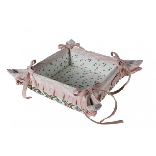 Panera de tela con volantes para servir el pan estilo vintage menaje de mesa