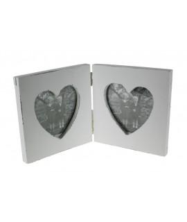 Cadre double pour deux photos en forme de coeur en bois de style vintage