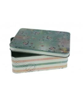 Caja pequeña metálica con decoración