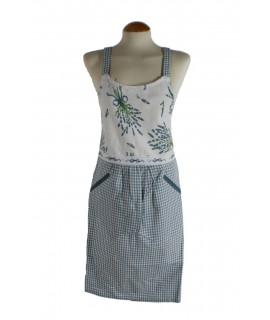 Delantal para cocina peto ajustable estilo vintage diseño ramillete lavanda