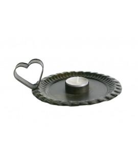 Assiette chandelier avec poignée coeur pour bougie longue