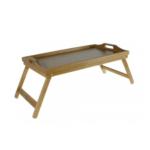 Bandeja con patas desplegables de madera de bambú