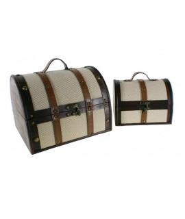 Cofre de madera forrado en tela