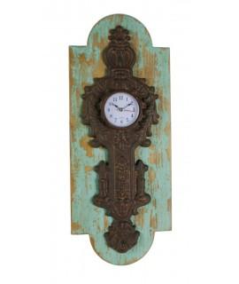 Reloj pared metal y madera verde decapada envejecida vintage hogar
