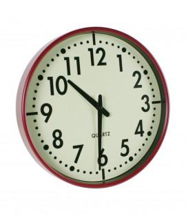 Reloj de cocina para pared de metal color rojo y números grandes