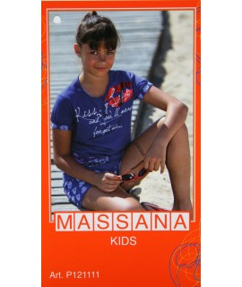 Pyjama fille Massana été pantalon court bleu taille 14