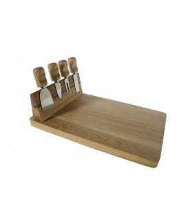 Tabla de corte para queso y pates con cuchillos