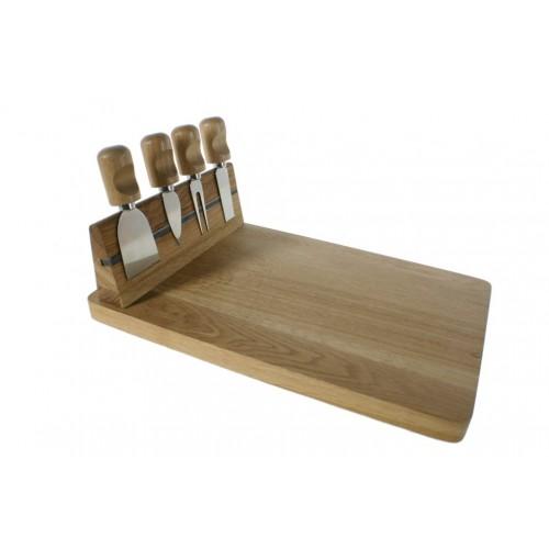 Set de 4 cuchillos para queso y pates junto con tabla de madera de roble utensilio de cocina