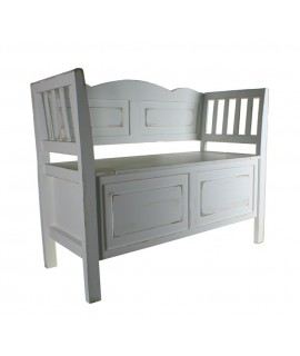 Banc en bois blanc avec coffre en siège de style vintage