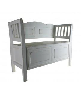 Banc en bois blanc avec coffre en siège de rangement de style vintage