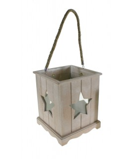 Petite lanterne en bois avec décoration vintage étoile en verre