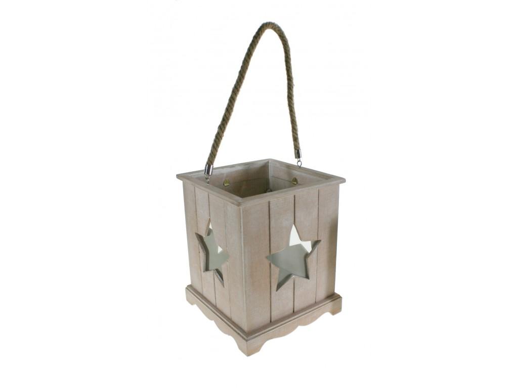 Farolillo pequeño madera con estrella de vidrio decoración vintage