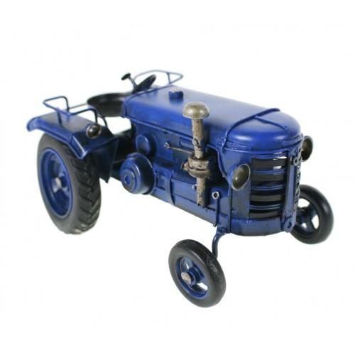 Réplica de tractor pequeño de color azul en metal