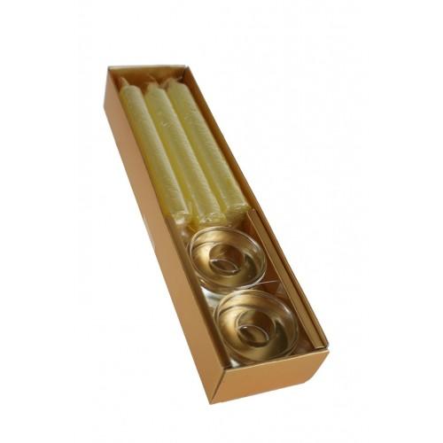 Vela de Navidad con 6 velas color oro y dos palmatorias de cristal