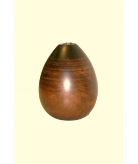 Vase en bois massif d'une seule pièce couleur noyer.