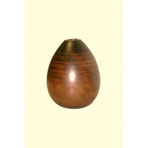 Florero de madera maciza de una sola pieza color nogal.