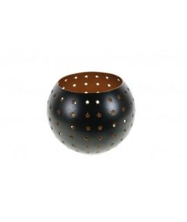 Bougeoir en métal noir de style nordique avec étoiles