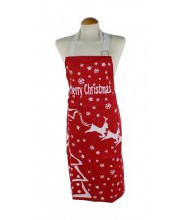 Delantal para cocina Navidad peto anagrama Merry Cristmas color rojo