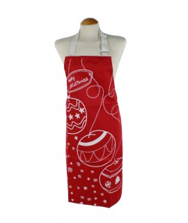 Delantal para cocina Navidad peto anagrama Merry Christmas color rojo
