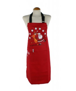 Delantal para cocina Navidad peto Santa Claus y Reno color rojo
