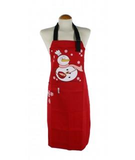 Tablier de cuisine de Noël avec salopette rouge bonhomme de neige