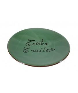 Tapa plat volteja gira truites de ceràmica d'argila color verd fabricació artesanal estris de cuina regal original