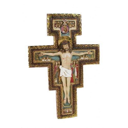 Cristo de San Damián en crucifijo para colgar en pared.