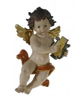 Ángel decorativo tocando arpa. Figura para colocar en la pared
