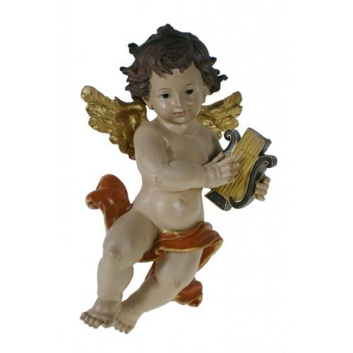 Àngel decoratiu tocant arpa. Figura per col·locar a la paret.