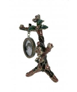 Portafotos rama flores, de metal esmaltado y vitrificado con marco colgante