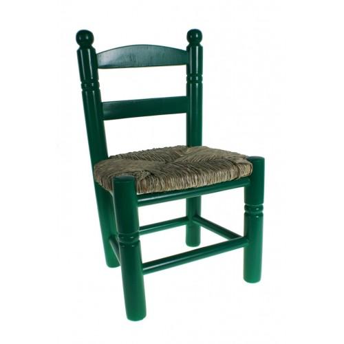 Cadira Infantil de fusta / espart -color Blava