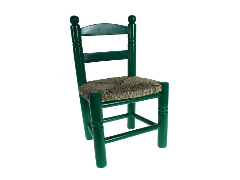 silla infantil de madera y esparto