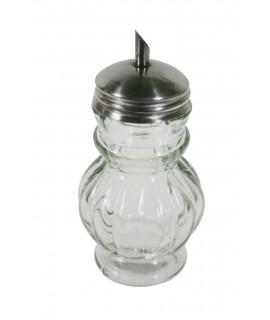 Bote azucarero de cristal con tapa metálica y dosificador