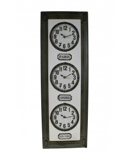 Reloj pared metálico tres esferas zonas horarias decoración industrial