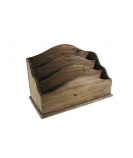 Cartero antiguo de sobremesa en madera maciza color nogal. Medidas: 32x17 cm.