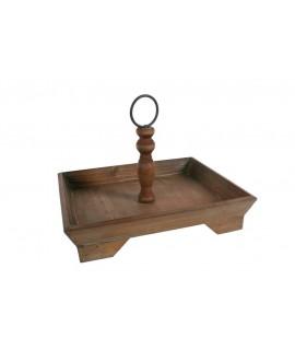 Centro de mesa de madera maciza estilo rustico. Medidas: 24x34x27 cm.