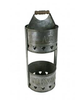 Pot distributeur d'ail en métal zingué de style vintage pour ustensiles de cuisine