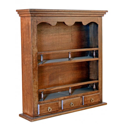 Platero de madera maciza rústico con cajones mueble auxiliar