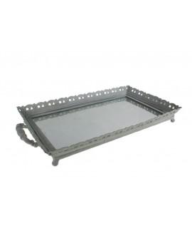 Bandeja de metal grande color blanco con base de cristal estilo vintage