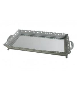 Safata de metall gran amb base de vidre estil vintage