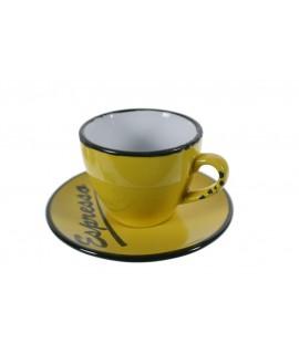 Taza de café con plato estilo vintage retro color amarillo con bordes negros servicio de mesa