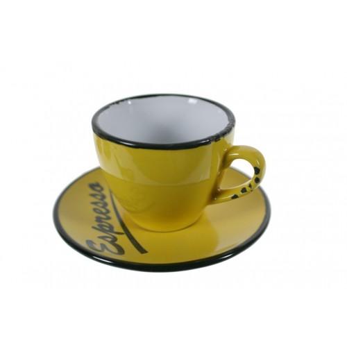 Taza espresso amarilla for Tazas para cafe espresso